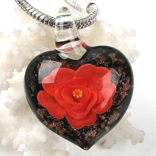 Gorgeous Lampwork Glass Red Flower Heart Pendant 1pc