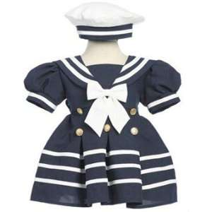 Girls Navy Sailor Dress with White Cap Size 18 Month