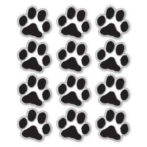 BLACK PAW PRINTS   Clear Vinyl Stickers   Sheet of 12   Sticker Decal