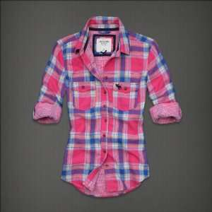 Abercrombie & Fitch Womens Shirt Pink Plaid Everything