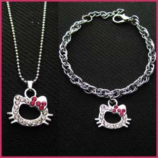 2012 Pop Cute HelloKitty Girl Kid Swarovski Bracelet Necklace Set Best