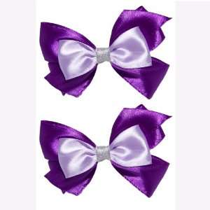 Purple Fancy Set of 2 Bow Hair Barrettes for Kid Girls and Baby Girls
