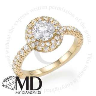 14KT YELLOW GOLD DIAMOND ENGAGEMENT RING 1.38 CT WEDDING HALO ROUND