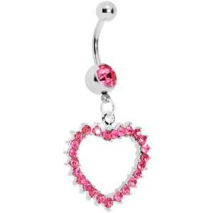Passionate Pink Gem Paved Hollow Heart Belly Ring