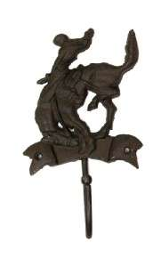 High Rustic Western Iron Bronco Horse Rider Wall Coat Hat Hook Wall