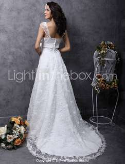 Cap sleeve Court Train Satin Lace Wedding Dress Bridal Gowns