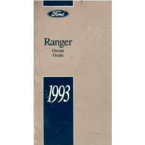 1993 FORD RANGER Owners Manual User Guide Automotive