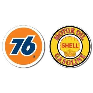 Nostalgic Gas & Oil Tin Metal Sign Bundle   2 round retro signs Union
