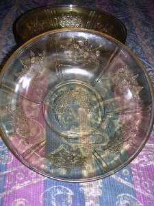 Antique Green Depression Glass Bowls [4 / 1920s]