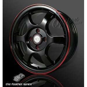 Spoke Racing Wheel Black W/ Red Lip JDM Style Rim 15 Inch 4x100 +40