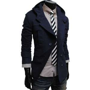 Mens casual double breasted cotton hood trench coat jacket NAVY