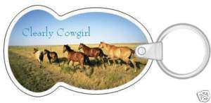 WESTERN CLEARLY COWGIRL RUNNING HORSES SPLIT KEY CHAIN FOB