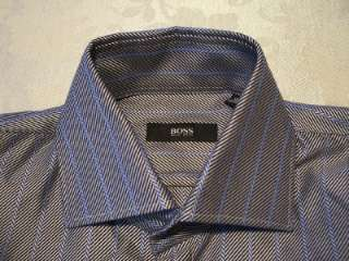 Hugo Boss Mens M Silver Black Blue Striped Cotton Dress Shirt