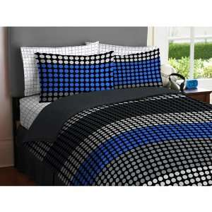 Teen BOY Blue Gray Black Circle Dot Grid Stripe Twin