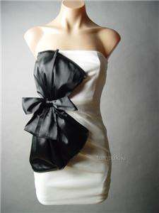 BLACK Satin Ribbon Bow Evening Party Sheath Dress M/L