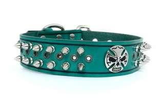 Wide Designer Green/Black Genuine Leather Spiked Skull Dog Collar