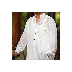 NOVICA Mens cotton shirt, Jade Bamboo