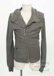 Rick Owens Grey Leather Asymmetrical Zip Up Hooded Mens Jacket Size