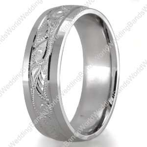Hand Engraved Wedding Bands,18K Gold 6mm Wide