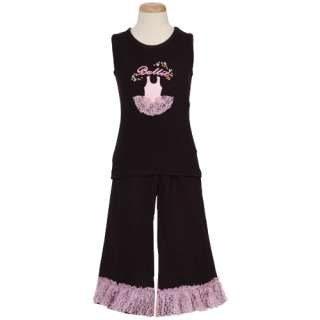 Sophias Style Toddler Girls Black Ballet Lace Outfit 3T
