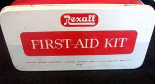 VINTAGE REXALL 1950S FIRST AID KIT~FILLED WITH ORIGINAL SUPPLIES~VERY