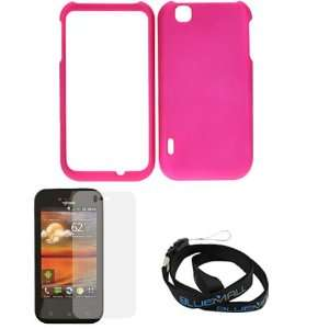 Hot Pink Rubberized Snap On Case + Clear LCD Screen Protector + Neck