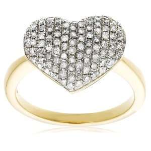 Gold Diamond Pave Heart Ring (3/4 cttw, I J Color, I3 Clarity), Size 6