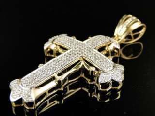 10K SOLID YELLOW GOLD SIMULATED DIAMOND CROSS PENDANT CHARM