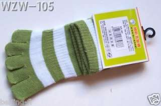 Pairs striped women Five Toe Socks assorted Colo