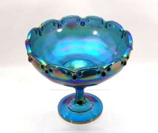 VTG Indiana Blue Carnival Glass Teardrop Large Compote