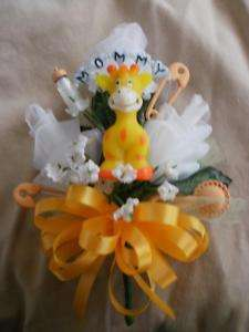 Baby shower corsage jungle theme zebra giraffe monkey