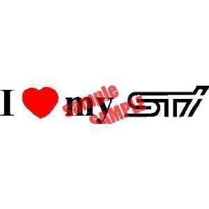 I HEART LOVE MY STI LOGO WHITE DECAL STICKER VINYL