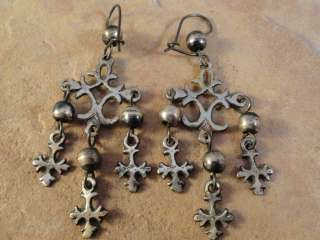 Mexico Mexican Sterling Silver Yalalag Cross Earrings