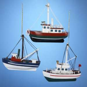 Club Pack of 12 Red, Green and Blue Wooden Fishing Boat