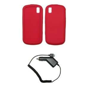 Red Silicone Gel Skin Cover Case + Rapid Car Charger for