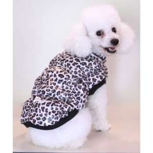 Leopard Pattern Dog Coat Jacket, Warm Poly Filling, Water