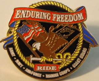 ENDURING FREEDOM Harley RIDE Eagle Armed Services PIN