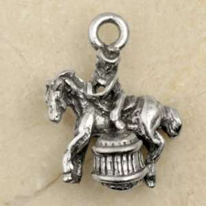 BARREL RACING HORSE & RIDER Pewter Charm