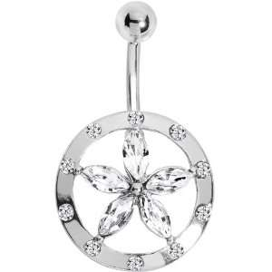 Clear Gem Encircle Lily Flower Belly Ring Jewelry