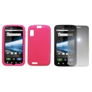 Hot Pink Silicone Skin Case Cover + Mirror Screen