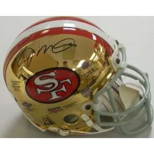 Joe Montana Signed Mini Helmet   Chrome