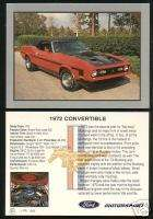 1972 FORD MUSTANG CONVERTIBLE Car Picture Fact Card FPI