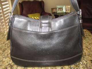 COACH LG BLACK SOFT LEATHER BUCKLE HOBO HAMPTONS CLASSIC HANDBAG PURSE