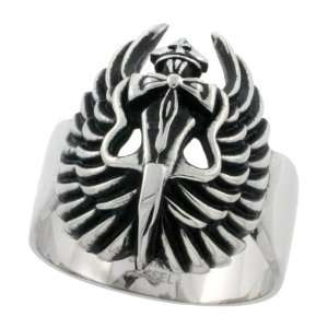 Surgical Steel Dagger Cross & Wings Goth Ring Blackened finish 1 1/16