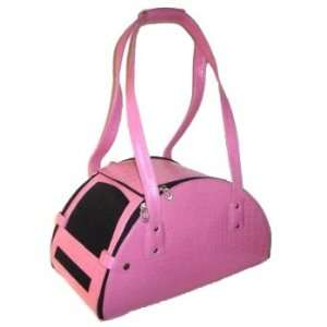 Pink Teacup Tote Leather Pet Carrier