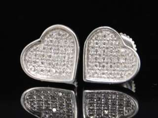 LADIES WHITE GOLD FINISH DIAMOND HEART STUD EARRINGS