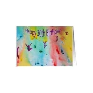 Happy 30th Birthday   Dancng figures   Watercolor Card