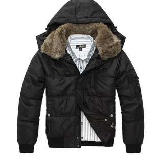 Men Winter Fashion Slim Fit Fur Collar Hooded Trench Coat Jacket 4
