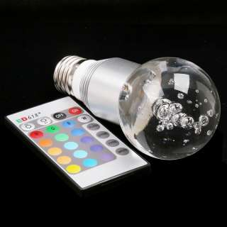 E27 3W 16 Color RGB Crystal Flash LED Silver Light Bulb with Remote