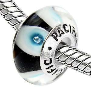 925 Sterling Silver Murano Style Glass Bead   I Like You Blue (Pandora